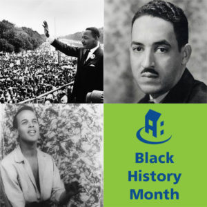 "Photos of Martin Luther King, Thurgood Marshall, Harry Belafonte, and blue text on green writing reading ""Black History Month"""