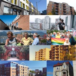A colourful montage of photos of buildings and co-op members from across Canada
