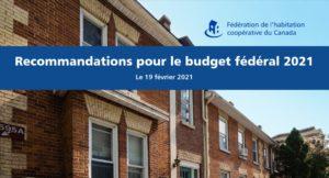 Les recommandations de la FHCC pour le budget fédéral soulignent le besoin de créer plus de coopératives d'habitation
