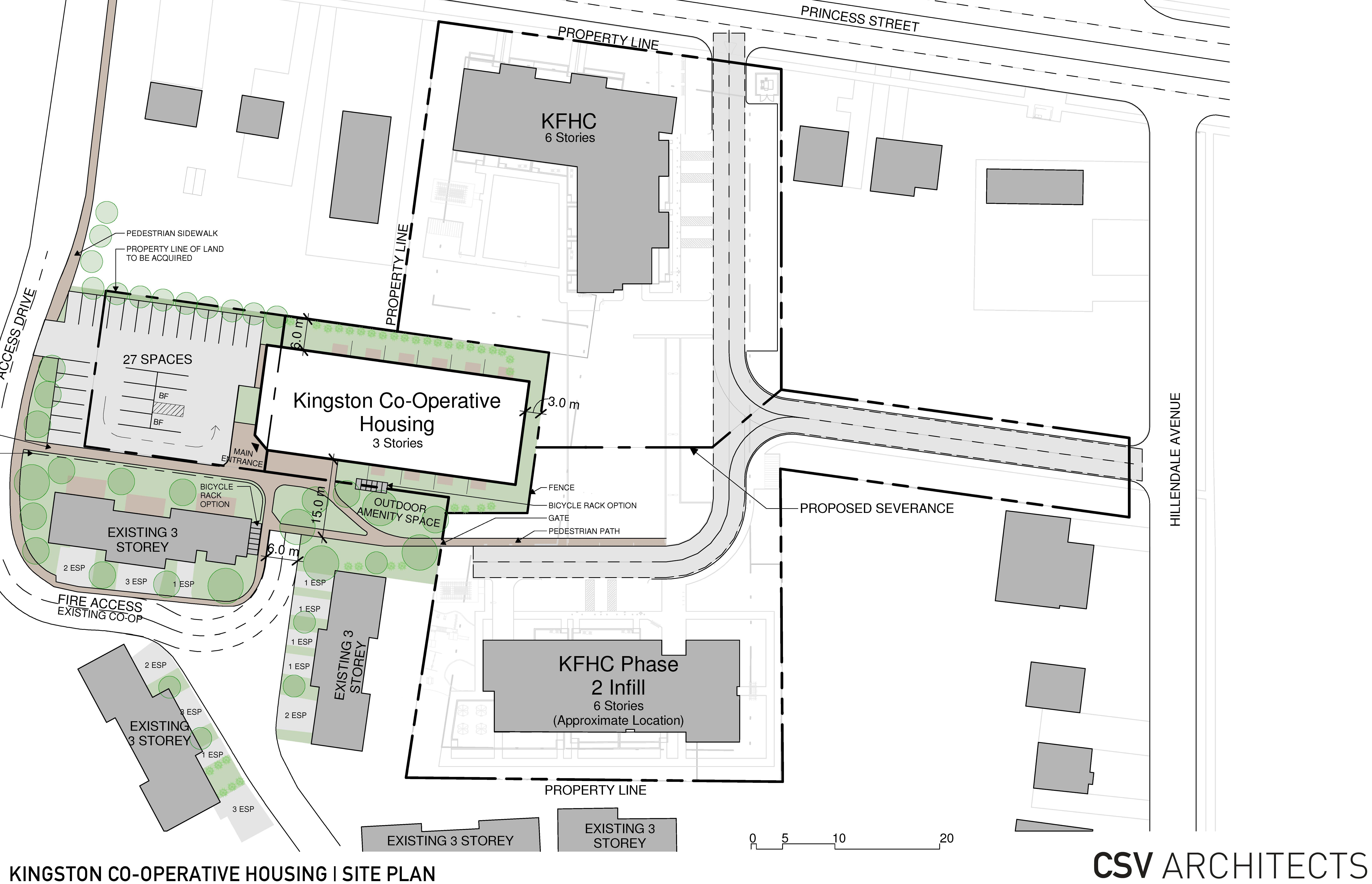 A site plan showing the location of current and future Kingston Co-op buildings
