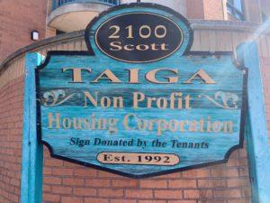 Sign for Taiga Non-Profit Housing Corporation